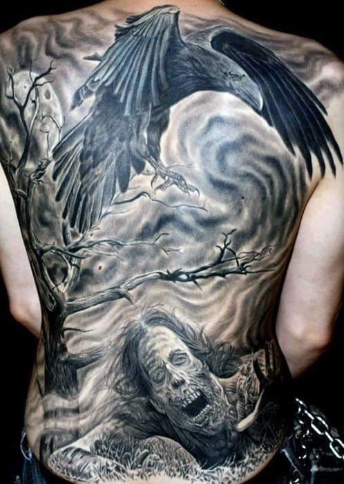 Raven Crow Bird Tattoo With Ghastly Man On Full Back For Males