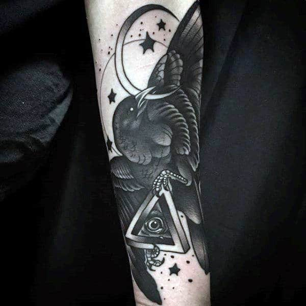 Raven Holding Unique Eye In Triangle Symbol Tattoo Guys Forearms