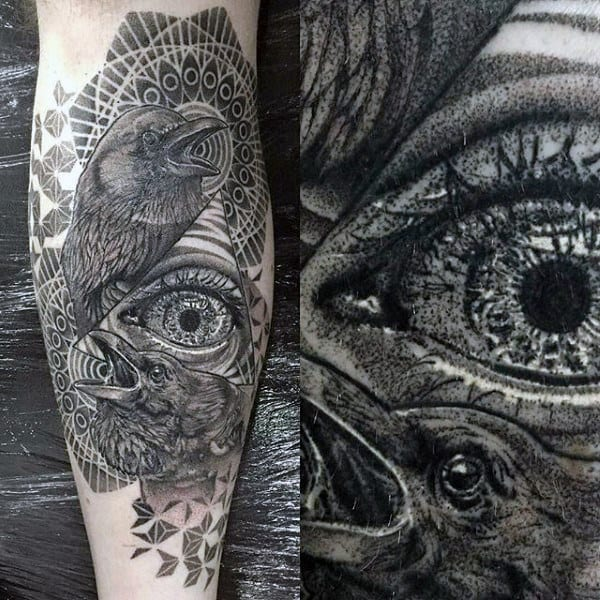Raven Pair With Large Grey Eye Tattoo Males Arms