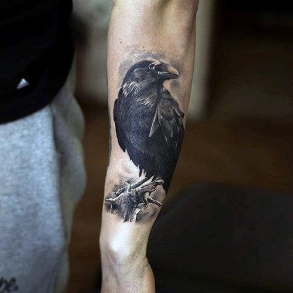 Raven Perched On Branch Tattoo On Forearms For Guys