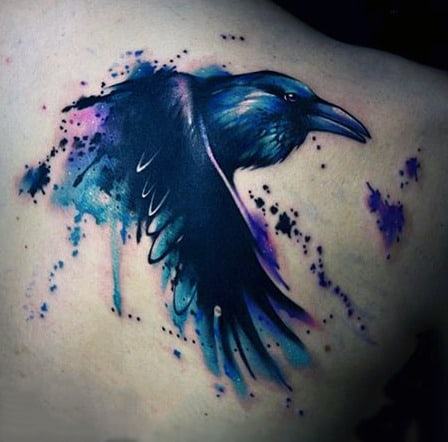 Raven Watercolor Tattoo On Back For Men
