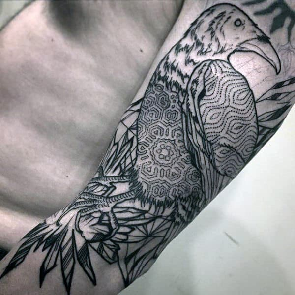Raven With Beautiful Dotted Mandala Tattoo Mens Forearms