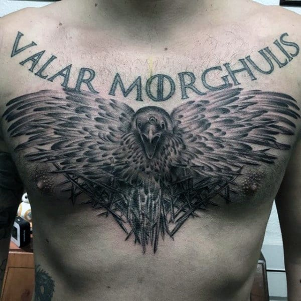 Raven With Ravishing Feathers Tattoo Male Chest