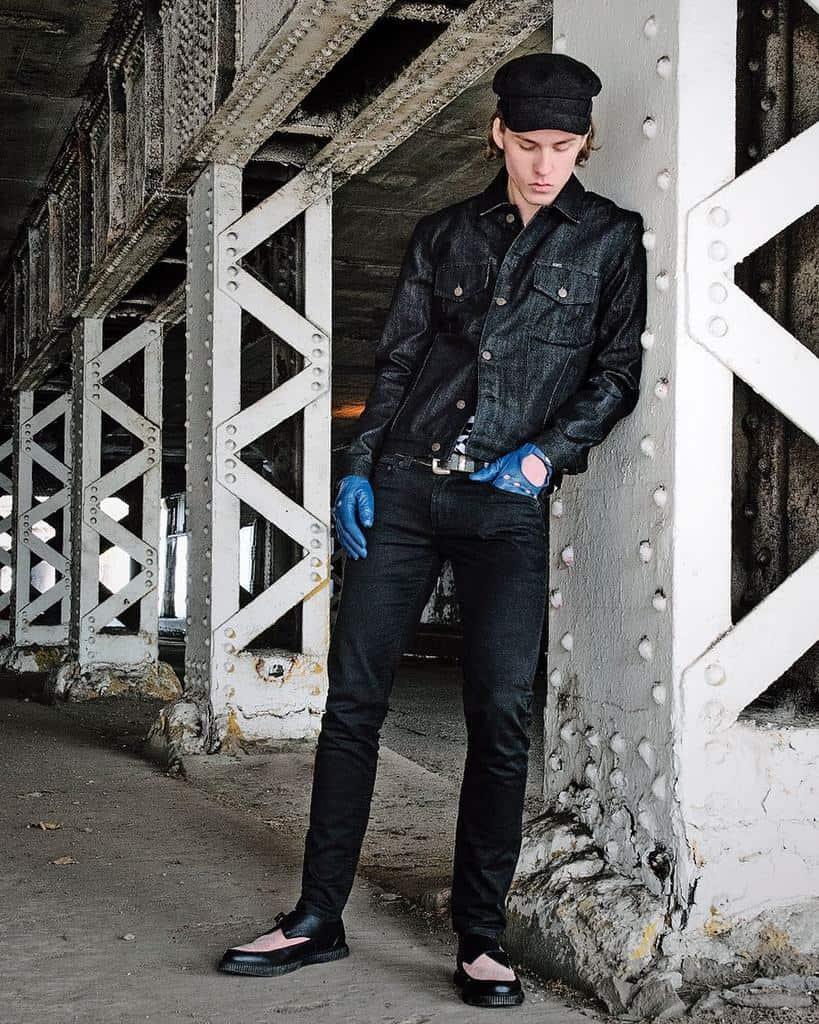 Tenue de veste en jean brut