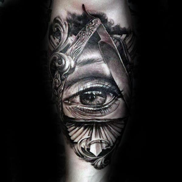 Razor Blade With Eye Mens Ornate Realistic Inner Forearm Tattoo