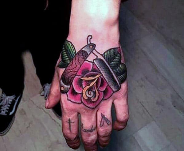 Razor Blade With Red Rose Flower Old School Mens Traditional Hand Tattoos