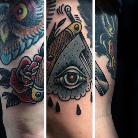 Razor With Eye Traditional Male Arm Tattoos