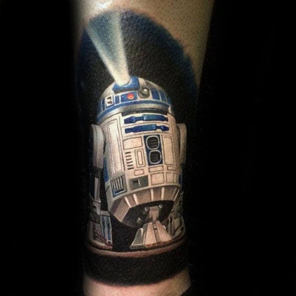Rd2d Lighting Up Black Background Guys Lower Leg Tattoo