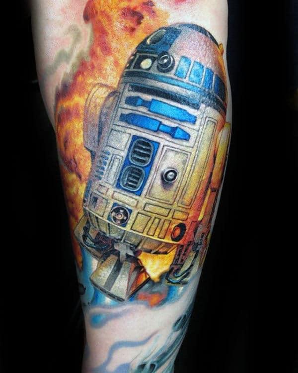 Rd2d On Fire Mens Arm Tattoos