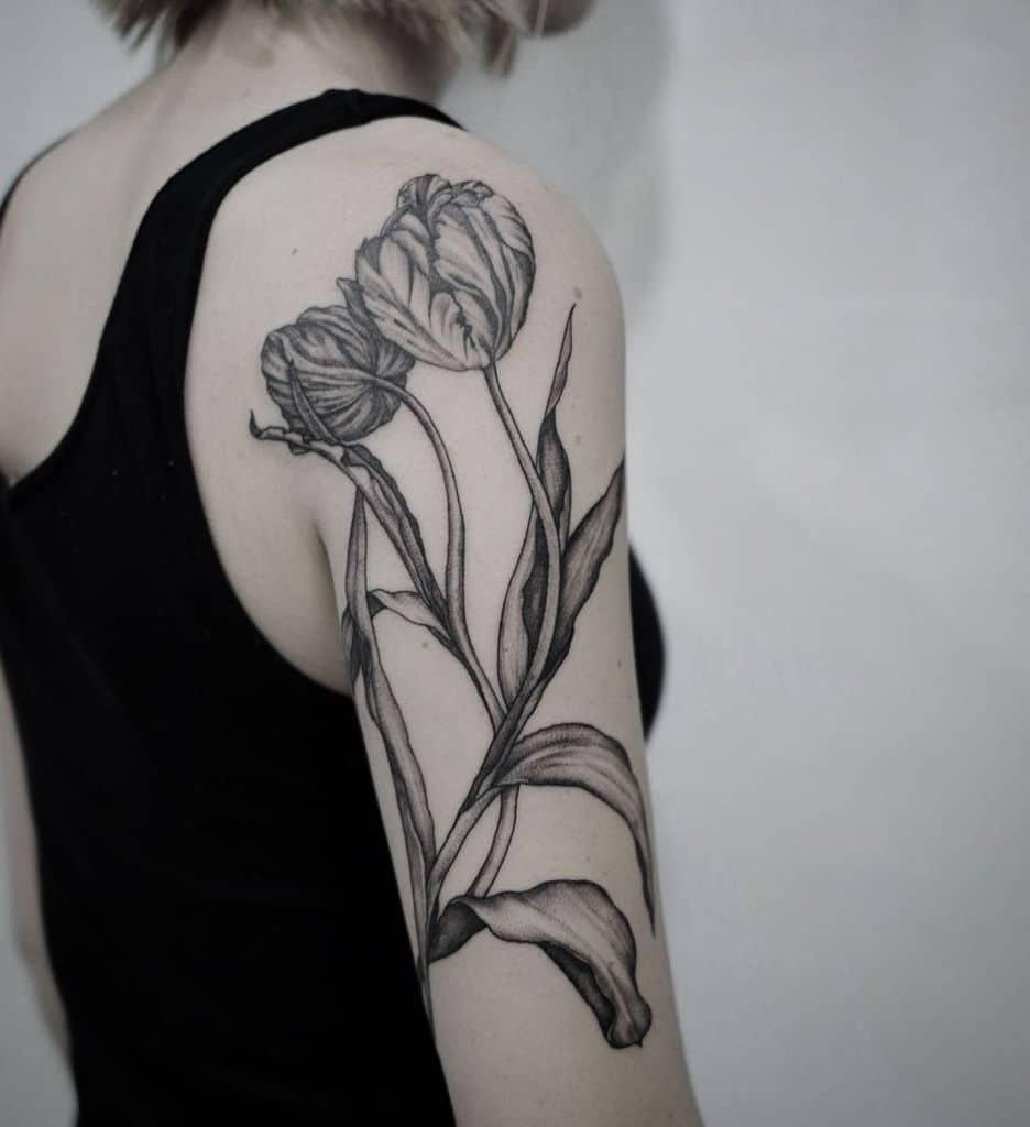 Real Arm Tulip Tattoo