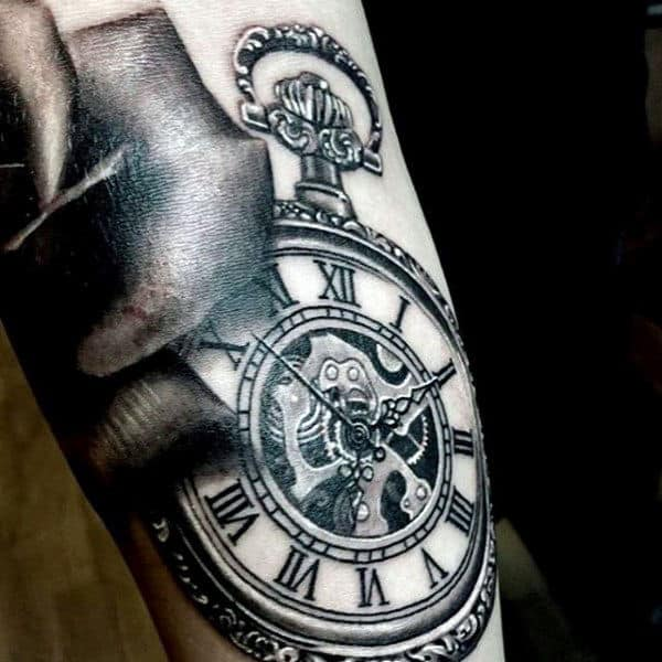 Real Looking Pocket Watch Tattoo On Forearms Men
