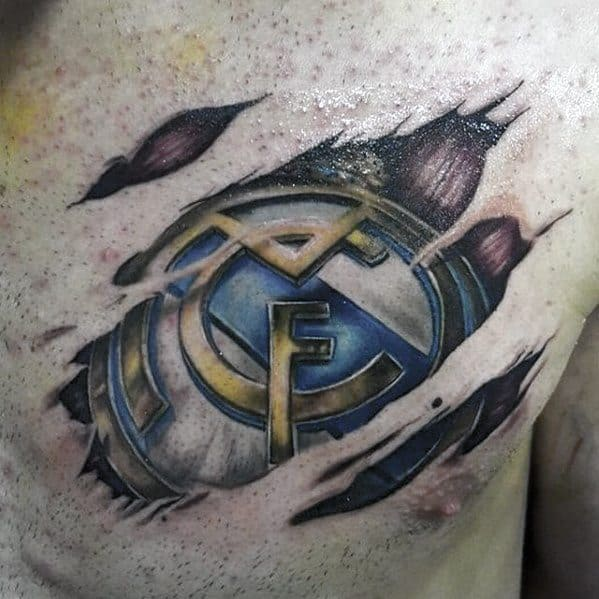 Real Madrid Male Tattoo Ripped Skin Chest Designs
