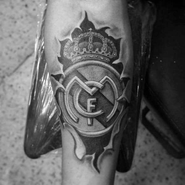 Real Madrid Tattoo Design On Man Inner Forearm