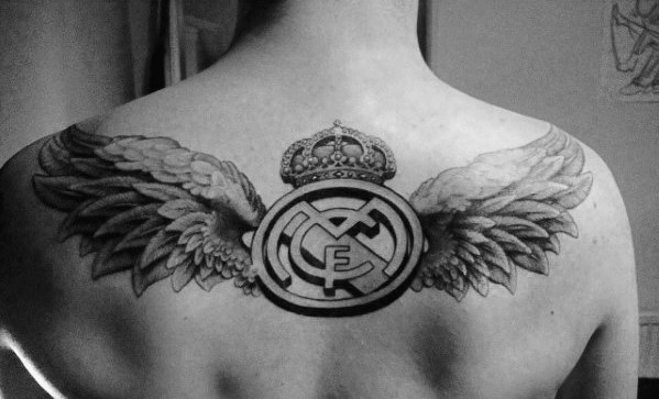 Real Madrid With Angel Wings Logotattoo Design Ideas For Males On Upper Back