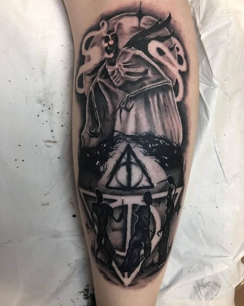 realism black and grey deathly hallows tattoo