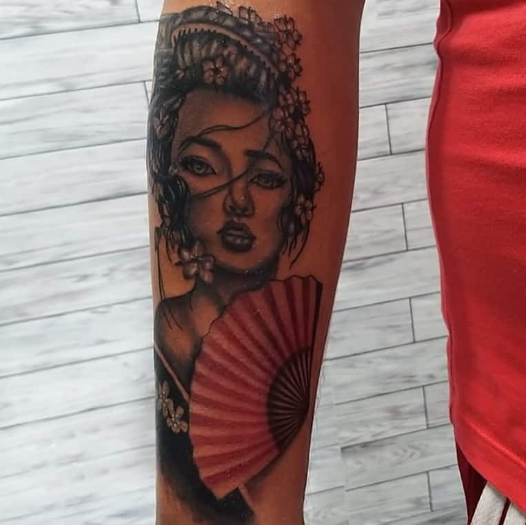 Realism Black And Grey Geisha Tattoo