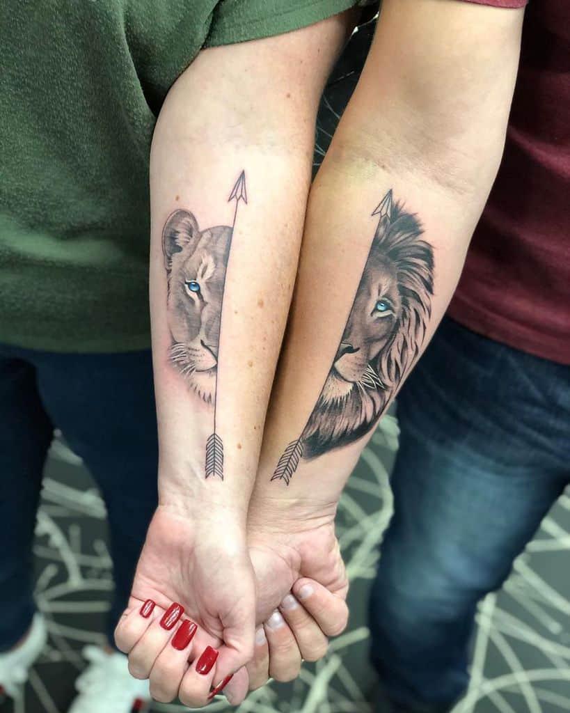 Realism Matching Lion Tattoo