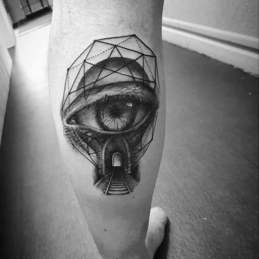 Realist Eye Train Tunnel Black Gray Line Shapes Calf Abstract Tattoo
