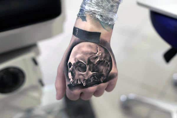 Realistic 3d Anatomical Skull Mens Hand Tattoo