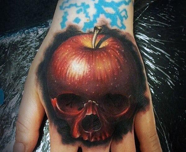Realistic 3d Apple Skull Mens Hand Tattoos