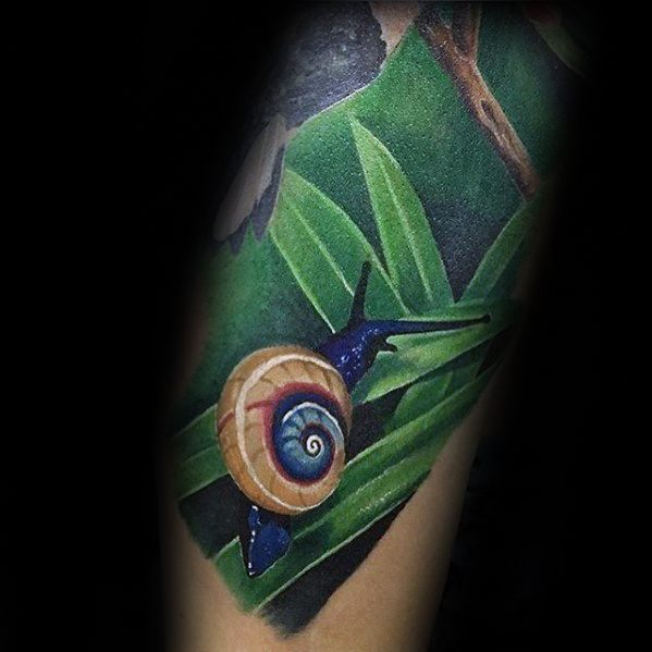Realistic 3d Arm Masculine Snail Tattoos For Men