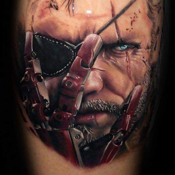 Realistic 3d Arm Metal Gear Guys Tattoo Ideas