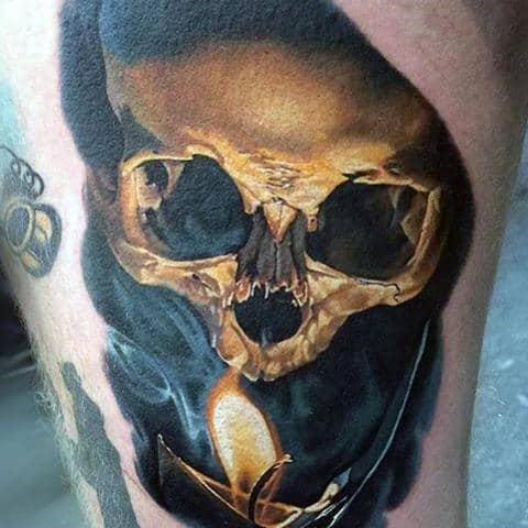 Realistic 3d Awesome Mens Skull Tattoo With Burning Candle On Thigh