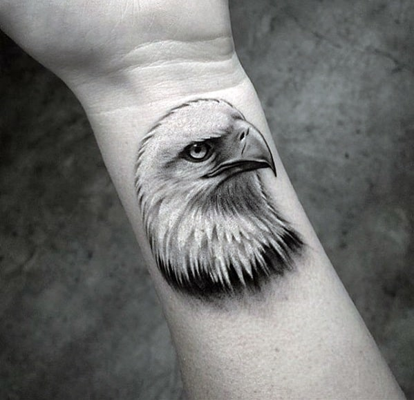 Realistic 3d Bald Eagle Mens Coolest Small Wrist Tattoos