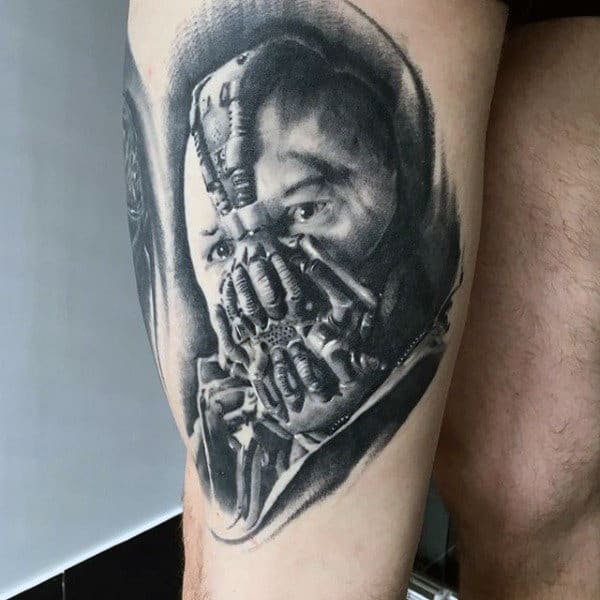 Realistic 3d Bane Male Thigh Tattoo Designs