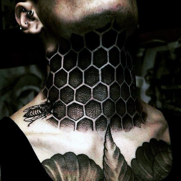 Realistic 3d Blackwork Honey Comb Pattern Mens Neck Tattoos