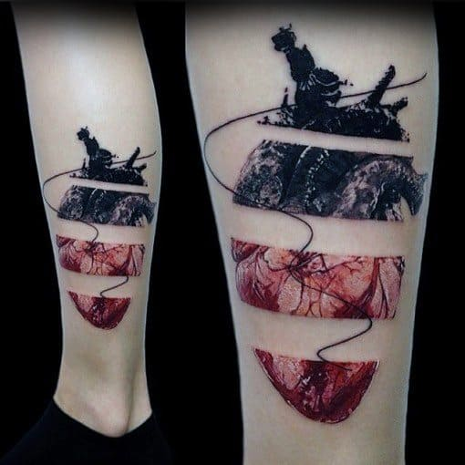 Realistic 3d Broken Heart Male Leg Tattoo Ideas