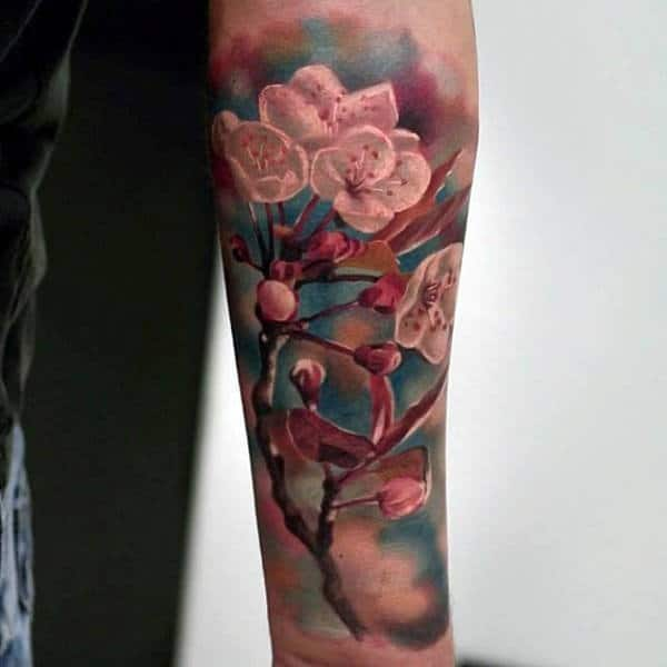 Realistic 3d Cherry Blossom Tree With Flowers Tattoo For Men