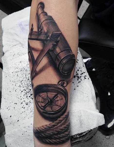 Realistic 3d Compass Rope And Telescope Mens Nautical Forearm Tattoos