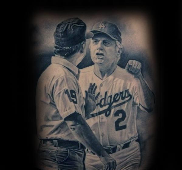 Realistic 3d Cool Male Dodgers Tattoo Designs