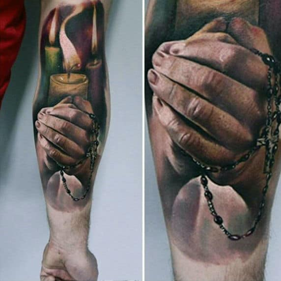 Realistic 3d Cross And Praying Hands Tattoos For Males With Candle Light Design