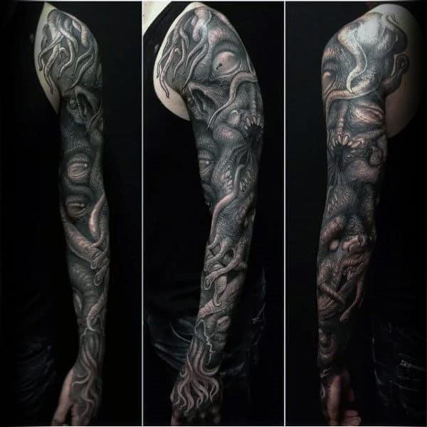 Realistic 3d Cthulhu Full Sleeve Mens Tattoo Deisgns