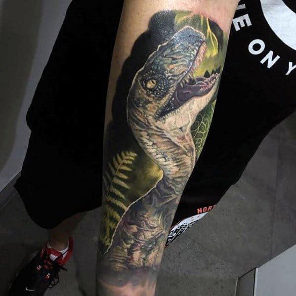 Realistic 3d Dinosaur Jurassic Park Male Tattoo Forearm Sleeve Designs