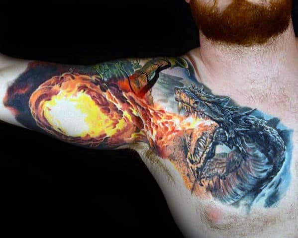 Realistic 3d Dragon Breathing Fire Guys Arm And Chest Tattoos