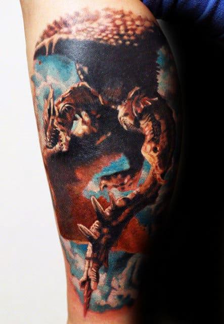 Realistic 3d Dragon Mens Leg Tattoo