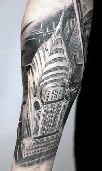 Realistic 3d Empire State Building Tattoo On Male