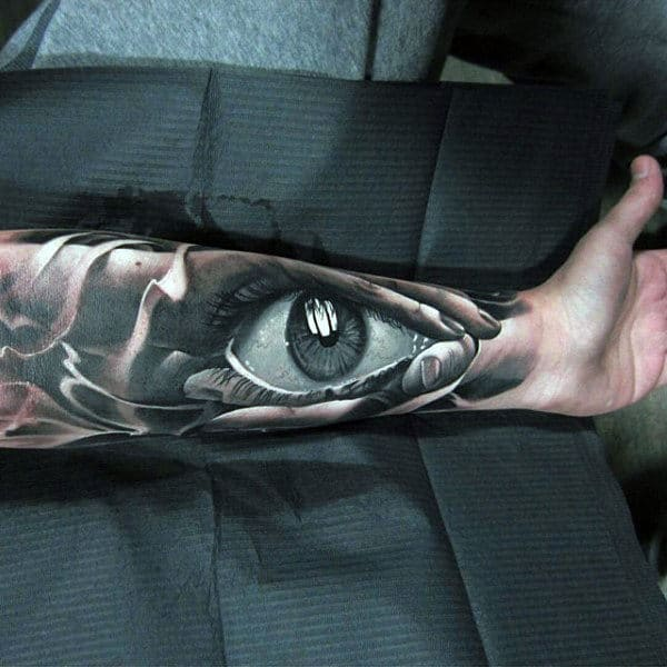 Realistic 3d Eye Inner Forearm Male Tattoos