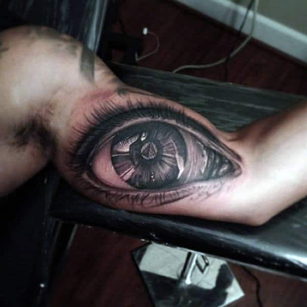 Realistic 3d Eye With Pyramid Mens Bicep Inner Arm Tattoo