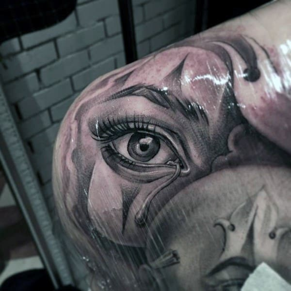 Realistic 3d Eye With Tear Drop Male Chicano Shoulder Tattoo