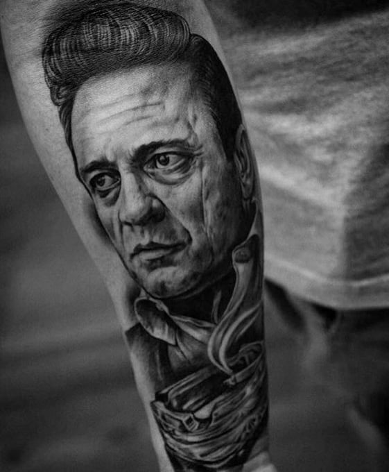 Realistic 3d Forearm Johnny Cash Tattoos For Gentlemen