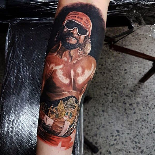 Realistic 3d Forearm Sleeve Portrait Cool Wrestling Tattoo Design Ideas For Male