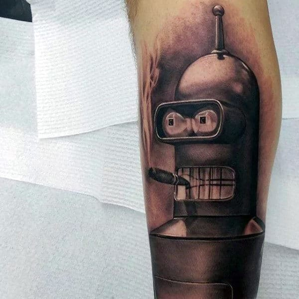 Realistic 3d Futurama Bender Mens Leg Tattoos