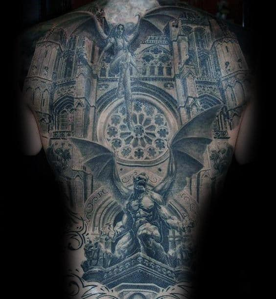 Realistic 3d Gargoyle Church Windows Mens Full Back Tattoo Inspiration