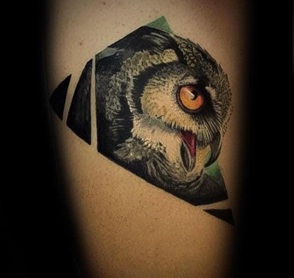 Realistic 3d Geometric Owl Mens Arm Tattoo