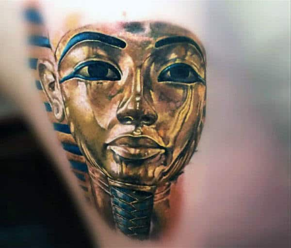 Realistic 3d Gold King Tut Mens Back Tattoos
