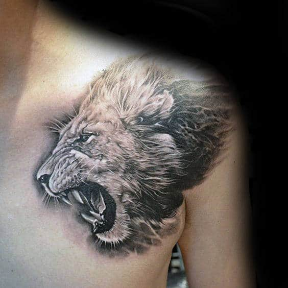 Realistic 3d Guys Black And Grey Ink Shoulder Tattoo Of Lion